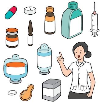 薬剤師と薬のベクトルセット