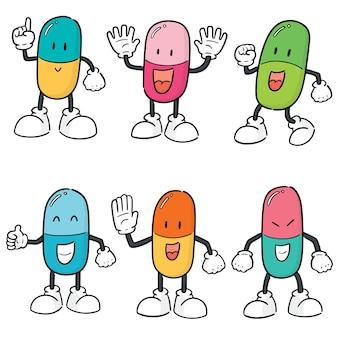 薬のカプセル漫画のベクトルセット