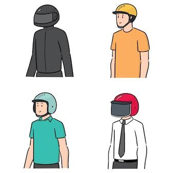 ヘルメットを着ている人々のベクトルセット