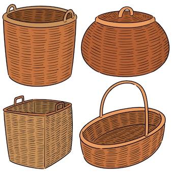Векторный набор плетеной корзины