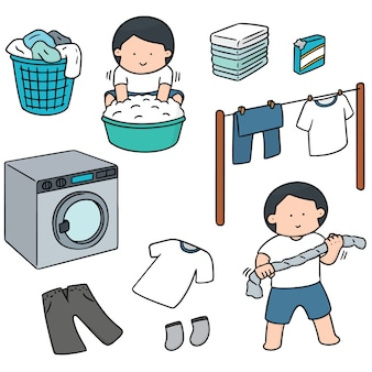 洗濯する人のセット