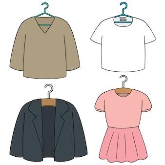 Векторный набор вешалки для одежды