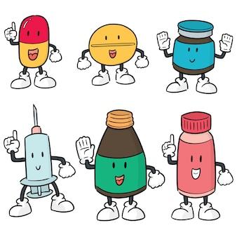 薬の漫画のベクトルセット