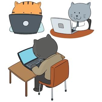 猫の会社員のベクトルセット