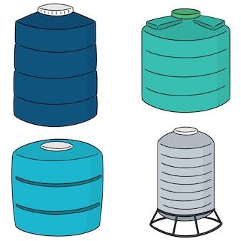 Векторный набор резервуар для воды