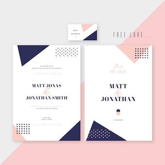 メンフィスエレガントな結婚式招待状のテンプレートデザイン