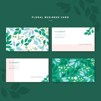 Цветочный и элегантный шаблон визитной карточки