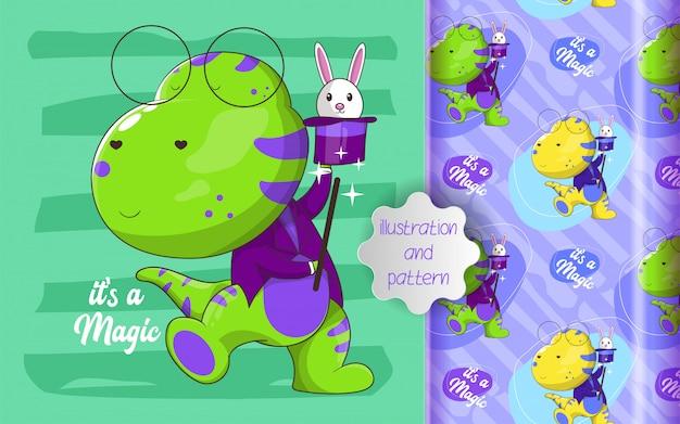 かわいい恐竜の魔術師とパターンのイラスト