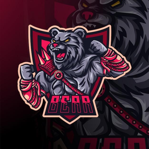 Медведь киберспорт логотип и дизайн талисмана