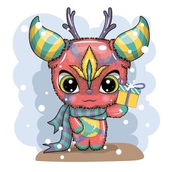面白い、かわいい、クレイジーなモンスターのキャラクター。グリーティングカード。メリークリスマス