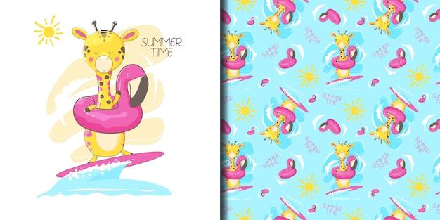 Нарисованный от руки милый жираф в летнее время