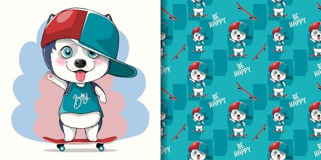 Милый мультфильм щенок хаски со скейтбордом