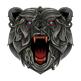 ベクトル色怒っている熊の頭のイラスト