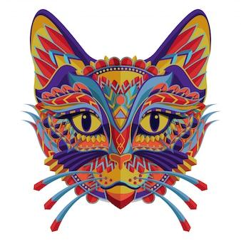 白い背景にスタイル化されたカラフルな猫のポートレート