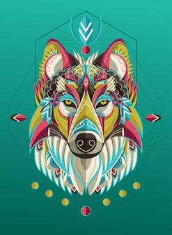 Стилизованный красочный портрет волка