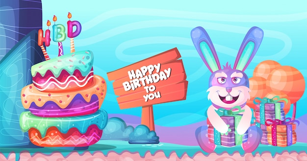 誕生日の背景カラフルなキャラクターデザイン