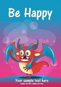 かわいいモンスターは幸せなグリーティングカードになります。