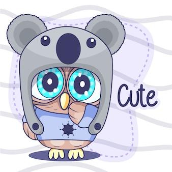 Милая маленькая сова в шляпе