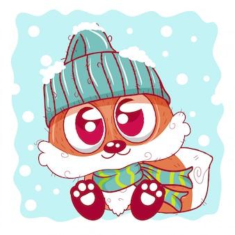 雪の上に座っているニット帽のかわいい漫画キツネ