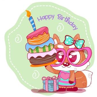 かわいいキツネとグリーティングの誕生日カード