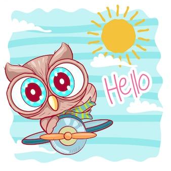 かわいい漫画フクロウは飛行機で飛んでいます。