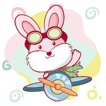 かわいい漫画のバニーは飛行機で飛んでいます。