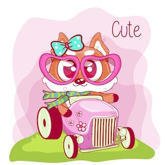 かわいい漫画キツネは車に行きます