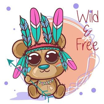 Симпатичный мультяшный племенной медведь с перьями - вектор