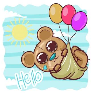 風船でグリーティングカードかわいい漫画のクマ - ベクトル