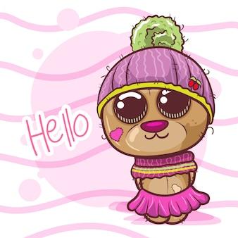かわいい漫画のクマの女の子 - ベクトル