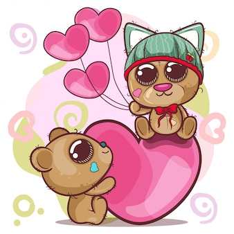 かわいいクマの女の子と男の子の心 - イラスト