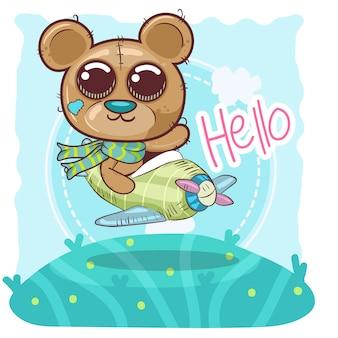 Симпатичный мультяшный плюшевый мишка летит на самолете - вектор