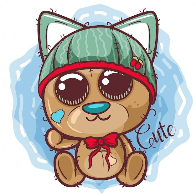 Симпатичный мультяшный медведь в шляпе - вектор