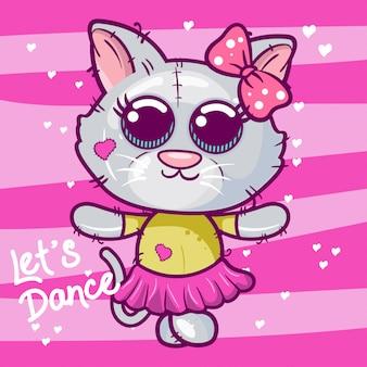 かわいい子猫、ベビーシャワーカードベクトルイラスト