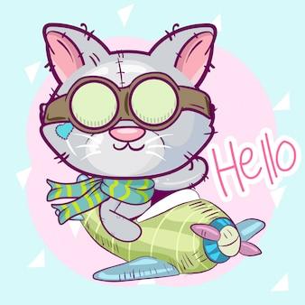 かわいい漫画猫は飛行機で飛んでいます。