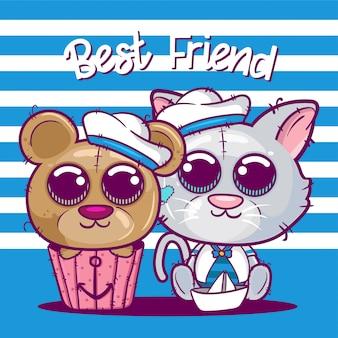 Милый мультфильм котенок и медведь векторные иллюстрации