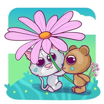 グリーティングカード子猫男の子と花を持つ少女。