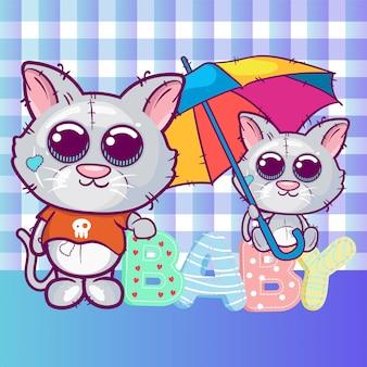 グリーティングカード子猫男の子と女の子、傘を持つ。