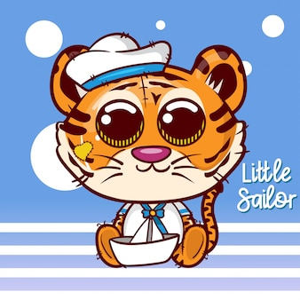 かわいい船乗り虎とベビーシャワーのグリーティングカード - ベクトル