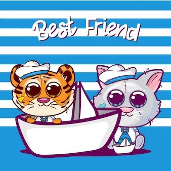 かわいい虎と猫漫画のベビーシャワーのグリーティングカード - ベクトル