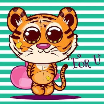 かわいい漫画の虎とベビーシャワーのグリーティングカード - ベクトル