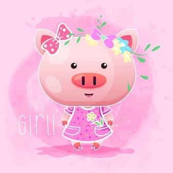 ピンクの背景を持つかわいい女の子赤ちゃん豚。ベクター
