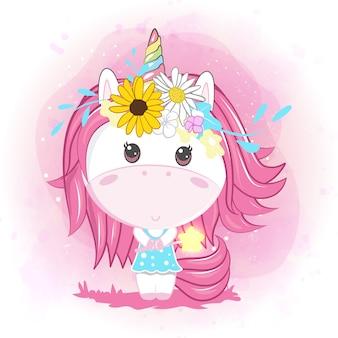 かわいい赤ちゃんユニコーンの花を持つ