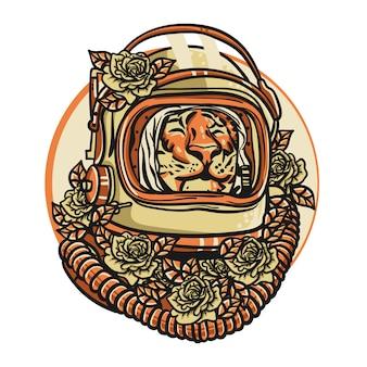 宇宙飛行士のヘルメットと虎の頭