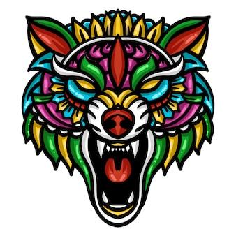 カラフルなオオカミの頭