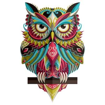 Стилизованная красочная сова на белом
