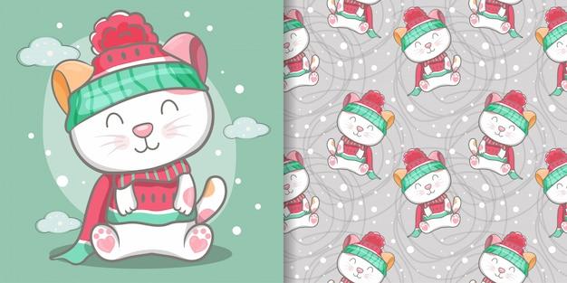 かわいい猫のシームレスなパターンとイラストカード