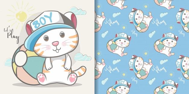 かわいい赤ちゃん猫男の子のシームレスなパターンとイラストカード