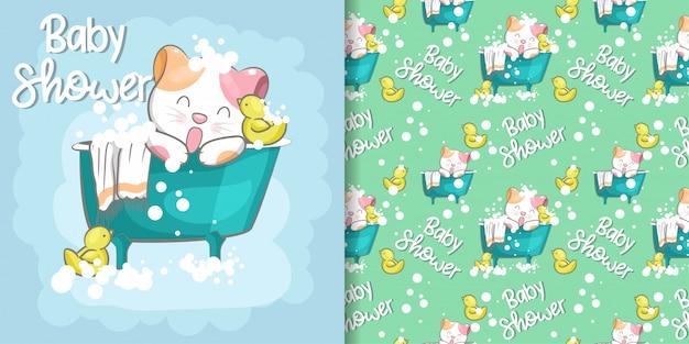 かわいい猫ベビーシャワーのシームレスなパターンとイラストカード