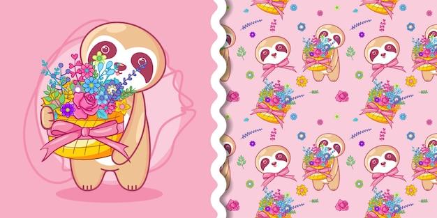 Ручной обращается милый ленивец и цветы с рисунком